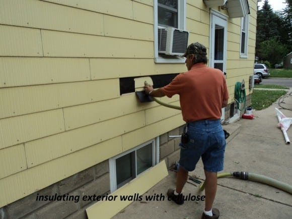 Insulating exterior walls with cellulose