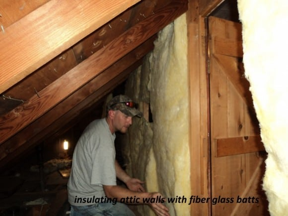 Insulating attic walls with fiber glass batts